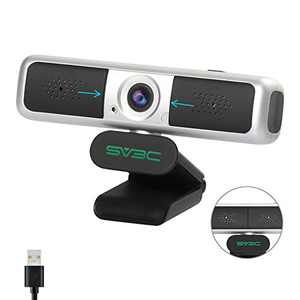 2K Webcam with Microphone, SV3C No Fisheye 4MP USB Stream Web cam with 360° Vision Privacy Cover PC Computer Camera with Microphone for Laptop Desktop Online Video Remote Study Conference Games