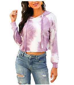 L'VOW Women's Casual Tie Dye Hoodie Sweatshirt Fashion Long Sleeve Pullover Hooded Tops (Purple, X-Large)