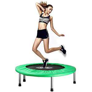 """X TOYZ 38"""" Foldable Mini Trampoline, Fitness Trampoline for Kids Adults with Safety & Anti-Skid Pads Exercise Rebounder Body Fitness Training Indoor Outdoor Quiet Bounce Max 300lbs"""