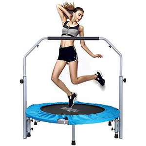 "X TOYZ 40"" Foldable Mini Trampoline, Fitness Trampoline for Kids Adults with Adjustable Foam Handle with Safety & Anti-Skid Pads Exercise Rebounder Body Fitness Training Quiet Bounce Max 330lbs"