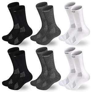 CabraKalani Men's Performance Basketball Crew Sock Hiking Outdoor Recreation Athletic Socks 6-Pack