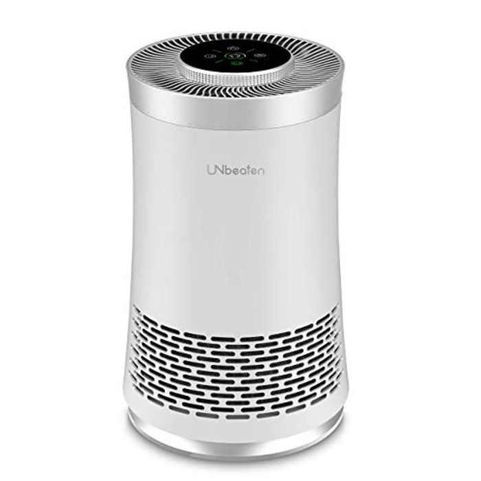 UNbeaten Air Purifier with H13 True Hepa Filter for Home, Bedroom and Office, Sleep Mode,3 Speeds Adjustable, Filter Change Reminder, Remove Dust, Smoke, Allergren, Pollen and Pets Dander