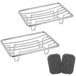 Top-Spring Stainless Steel Rustproof Soap Dish, Self-draining Soap Sponge Holder for Bathroom, Shower, Kitchen, Sink (Grey)