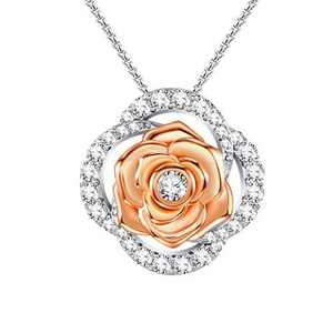 SNZM Rose Flower Necklace for Women Girlfriend Cubic Zirconia Pendant Necklace for Birthday Wedding Christmas