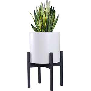 HOKEMP Black Metal Planter Stand Mid Century Modern Flower Potted Plant Holder Plants (Plant Pot Not Included) Fits Up to 12 Inch Planter