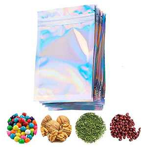 100 Pieces Resealable Smell Proof Bags, Foil Zip lock Bags Double-Sided Metallic Foil/Mylar Zip lock Bags Food Storage Bags Hanging Storage Pouch for Storage (Without Hanging Hole, 3 x 4 Inch)