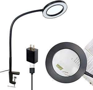 """LED Magnifying Lamp with Clamp, 5"""" Super Large Diameter Real Glass Lens, 10 Levels Dimmable, 3 Color Modes, Adjustable Swivel Arm Lighted Magnifier Light for Desk, Table, Craft, Workbench"""