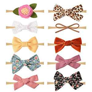 10 Pack Baby Girl Headbands and Bows, Newborn Infant Toddler Nylon Hairbands Hair Accessories
