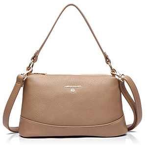 Women Small Handbag and Purse Crossbody Shoulder Bag, Vegan Leather Tote Bag with Three zipper compartments
