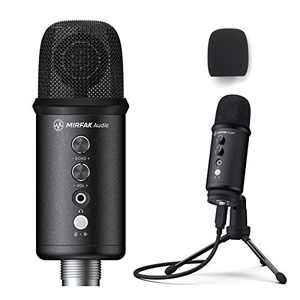 MIRFAK TU1 USB Desktop Microphone Large Diaphragm, USB Condenser Microphone,Built-in Echo Effect with Adjustment Knob,Pop-Filter, Desktop Stand, and USB Cable Included【Free One-Year Warranty】
