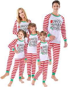 Matching Family Christmas Pajamas Sets Women Men Striped Sleepwear Holiday Clothes X-mas Pjs Size 16t