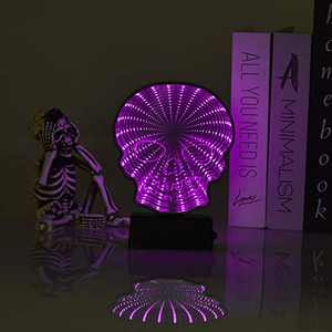 GoodLights LED Mirror Tunnel Night Light, 3D Double-Sided Infinity Mirror Lamp Bat Sign Battery Operated, Night Lights for Kids Room, Party, Halloween Decorations (Skull, Purple)…