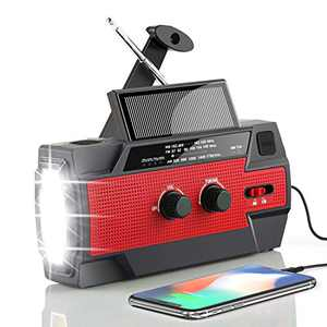 Emergency Hand Crank Radio 4000mAh, AGPTEK Solar Weather Radio Portable with AM/FM/NOAA/Flashlight/SOS Alarm for Outdoor/Household Emergency, Carrying Bag Included