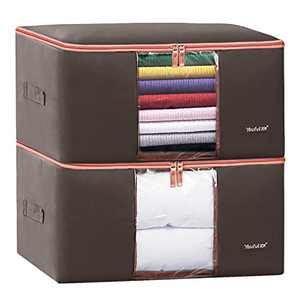 BYG 100L Waterproof Clothes Storage Bag, Closet Organizer with Heavy-duty 600D Fabric & Reinforced Handle for Comforters, Bedding,Blankets,Clothing,Pillows, Decorations Store,Extra Large Capacity,Pack of 2(Brown)