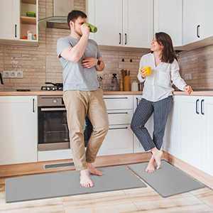"Delxo Anti Fatigue Kitchen Floor Mat -2 Piece Kitchen Mats Cushioned Anti Fatigue Waterproof Non-Slip Standing Mat Ergonomic Comfort Floor Mat Rug for Home,Office, 18""x47"" +18""x30"" (Grey)"