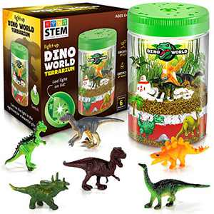 Light-up Terrarium Kit for Kids with 6 Dinosaur Toys - Create Your Customized Mini Dino World Garden, Plant Growing Kit Glows at Night STEM Science Kit for Boys and Girls Age 3, 4, 5, 6, 7, 8-12