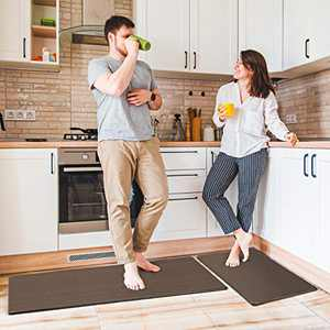 "Delxo Anti Fatigue Kitchen Floor Mat -2 Piece Kitchen Mats Cushioned Anti Fatigue Waterproof Non-Slip Standing Mat Ergonomic Comfort Floor Mat Rug for Home,Office, 18""x47"" +18""x30"" (Brown)"