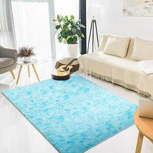 LORSEX Super Comfy Indoor Fluffy Rug Plush Velvet Area Rugs Carpet for Bedroom Living Room Dorm Home Decor Large Nursery Shag Rug Floor mats for Boys and Girls (Blue 5x8ft)