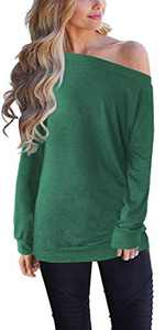 Off The Shoulder Tops for Women Casual Long Sleeve Solid Shirts(GN,2X) Green