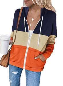 Zecilbo Womens Workout Lightweight Hoodie Sweatshirt Colorblock Cozy Fashion 2020 Jackets Orange Medium