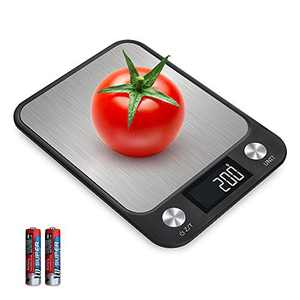 Food Scale Digital Kitchen Scale Weight Grams and oz for Baking, 1g/0.1oz Increment High Precision Weighing Scales, HD LCD Display, Max 22lbs/10kg, Stainless Steel Easy Clean, Batteries Included