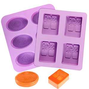Soap Molds, POZEAN 2 Pack Silicone Soap Molds, Rectangle & Oval Soap Molds for Soap Making with Mixed Patterns, Soap Making Supplies, Silicone Molds for Soap Making,Ice Cube Tray,Chocolate,Cake