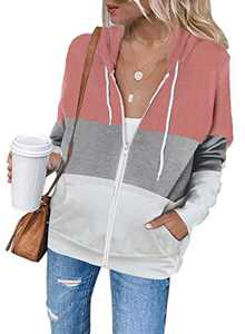 Zecilbo Womens Cute Zipped Hoodie Sweatshirt Hoodie Fall Coats Zip Up Jackets Pink Small