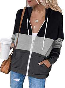 Zecilbo Womens Junior Color Block Casual Sweatshirt Junior Color Block Casual Jackets Black Large