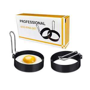 Egg Ring, 2 Pack Egg Cooker Rings, Round Breakfast Household Egg Maker Molds Circles, Kitchen Tool for Frying Shaping Cooking Eggs