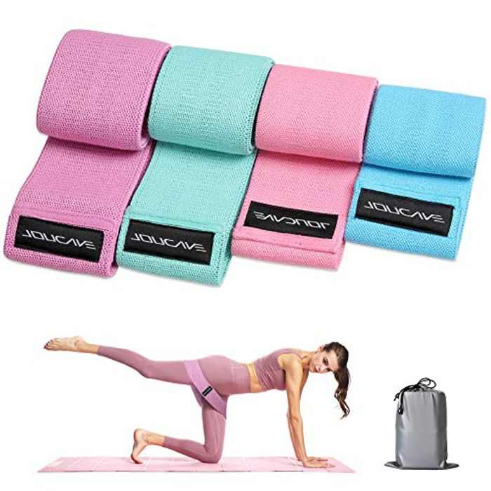 Evaduol Resistance Bands, Fabric Booty Bands 4 Pack 11/13/15/17 inches Home Fitness for Women/Men,Non-Slip Workout Exercise Bands for Weight Loss, Yoga, Pilates