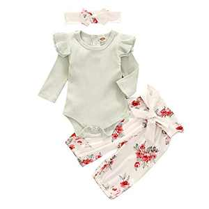 Infant Baby Girls Long Sleeve Ruffle Letter Print Romper Bodysuit+Pants+Headband Outfits Clothes Set (Z5-Light Green, 0-6 Months)