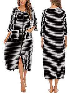 Veseacky Women's Striped Sleepwear Zipper-Front Duster Half Sleeve House Dress Nightgown (Black,Small)