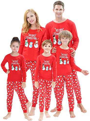 Matching Family Christmas Pajamas Sets Snowman Jammies Women Men X-mas Pjs Striped Cotton Sleepwear Holiday Clothes Size 3