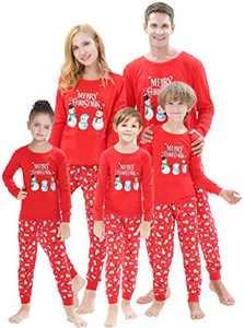 Matching Family Christmas Pajamas Sets Snowman Jammies Women Men X-mas Pjs Striped Cotton Sleepwear Holiday Clothes 12 to 18 Months
