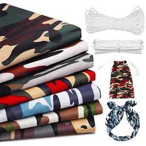 "JOYXEON Camouflage Cotton Fabric 7 PCS 18.8""x18.8"" Fat Quarter Army Camouflage Fabric 100% Cotton Camo Fabric with 50 PCS Nose Bridges Strip, 10m Elastic Band for Dressmaking Quilting Sewing Patchwork"