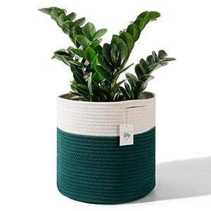 "POTEY 701202 Woven Cotton Rope Plant Basket for 10"" Flower Pot Floor Indoor Planters, 11""x 11"" Storage Organizer Modern Home Decor(White Dark Green Stripes)"