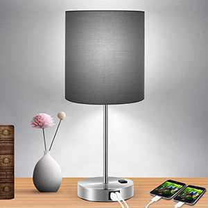 Touch Control Table Lamp Black Shade, 3-Way Dimmable Lamp with 2 Fast Charging USB Ports and Power Outlet, Bedside Lamp, Nightstand Lamp, USB Lamp for Bedroom, Daylight White Bulb Included
