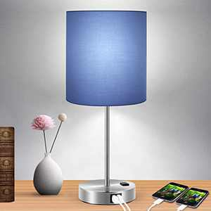Touch Control Table Lamp Blue Shade, 3-Way Dimmable Lamp with 2 Fast Charging USB Ports and Power Outlet, Bedside Lamp, Nightstand Lamp, USB Lamp for Bedroom, Daylight White Bulb Included