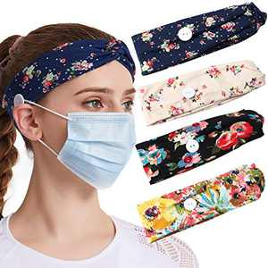 Boho Headbands For Women Headbands With Buttons For Mask Nurses 4pcs Elastic Turban Headband No Slip Criss Cross Head Wraps Twisted Head Band Beach Hairbands Cloth Hair Bands For Womens Hair Bandeau