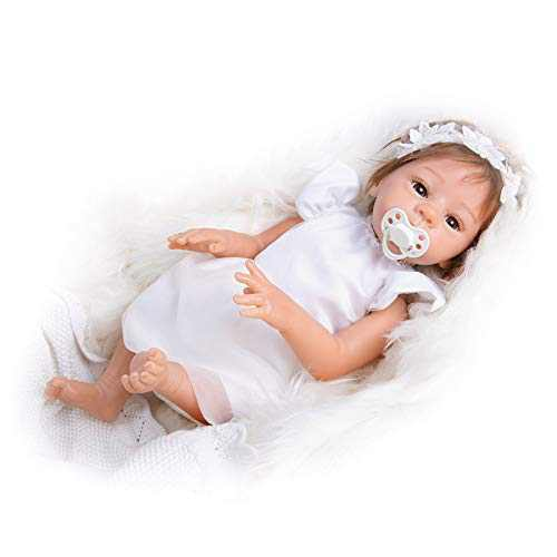 "TCBunny 18"" Full Body Vinyl Silicone Reborn Newborn Baby Girl Doll Realistic Lifelike Handmade Weighted Princess Fairy Like Doll for Ages 3+"