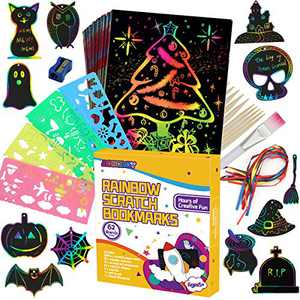 AONOKOY Scratch Paper Art Set, 90 Pcs Magic Drawing Art Craft Kid Black Scratch off Paper Supply Kit Toddler Preschool Learning Bulk Toy for 4 5 6 7 8 9 10 Kids Fun Arts and Crafts Activities Anywhere