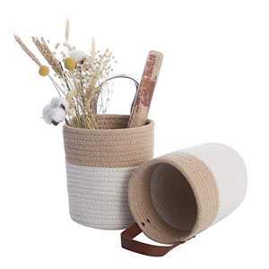2 Pack Hanging Basket Small Cotton Storage Basket Cotton Closet Storage Bins Hanging Basket Baby Nursery Organizer Wall Hanging Basket Toy (Light Brown)