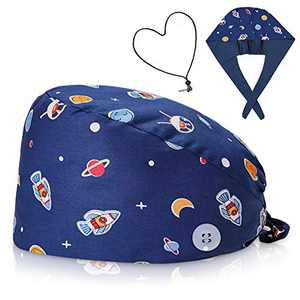 Double sided Working Cap with Buttons For Women and Men, Hair Cover Hat with Adjustable Tie Back and Elastic Band, with 1 Adjustable Length Face Madk Lanyard, Hats Head Cover General Size Color Galaxy