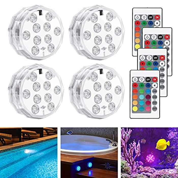LEDGLE Hot Tub Lights,Bath Spa Swimming Pool Lights IP68 Waterproof Underwater,Pond Lights with Remote Controlled, 4 Pcs 10-LED 16 Colors