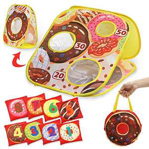 Demilong Bean Bag Toss Game for Kids,Beach Yard Games for Kids,Double-Sided Kids Cornhole Game Set with 8 Bean Bags and 1 Carrying Bag, Outside Toys for Kids Age 2 3 4 5 6 7 8