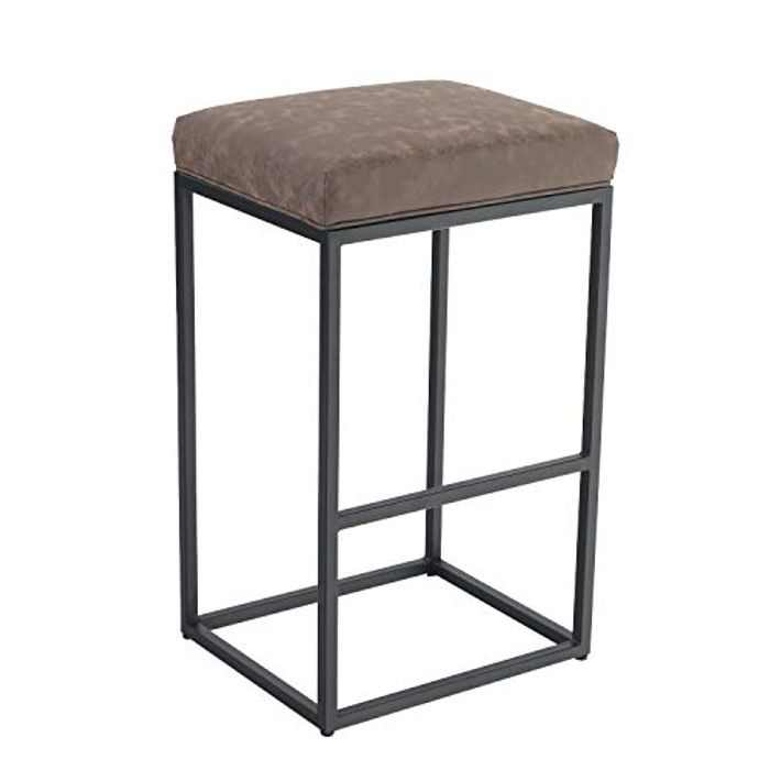 Camping World Bar Stool, Counter Height Bar Stools with Footrest, Breakfast Bar Chair of Pu Leather Backless, Kitchen Dining Cafe Chair for Indoor and Outdoor (Large, Brown)