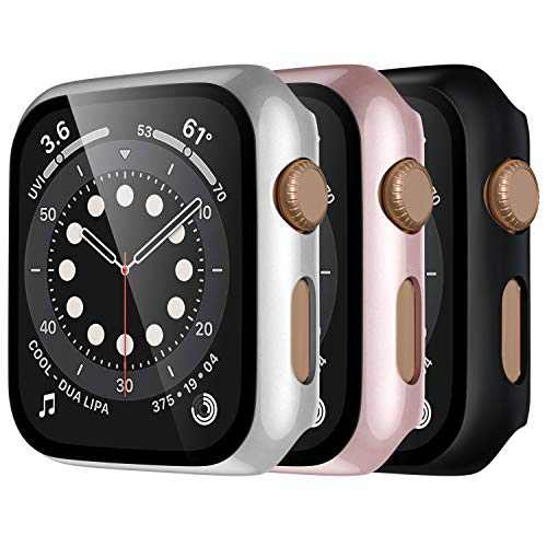 Mastten 3-Pack Case Compatible with Apple Watch Case Series 3 42mm, Bumper Protective Cover Compatible with Apple Watch Screen Protector 42mm with HD Tempered Glass, Black, Rose Gold, Silver