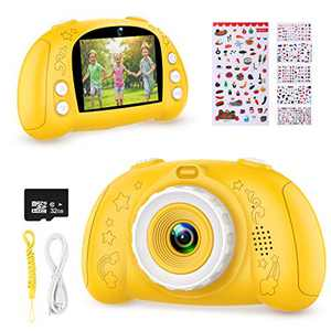 WOWGO Digital Camera for Kids, 1080P Rechargeable Electronic Children Camera Birthday Toy Gift with 32GB TF Card for Toddler and Age 3 to 12 Years Boys and Girls (Yellow)
