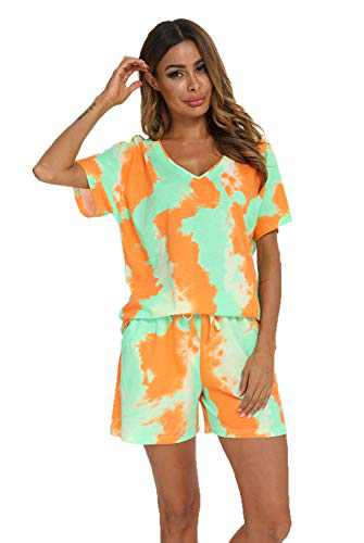 MIA LUCCE Women's Sleepwear -Tie-Dye Print Short-Sleeve Tee and Shorts Pajama Sets(XX-Large,Green Orange tie-dye)