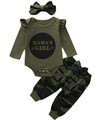 Truly One Baby Girl Mama's Girl Bodysuit Newborn Long Sleeve Camouflage Oufit Set with Headband (Camouflage03,0-3 Months)
